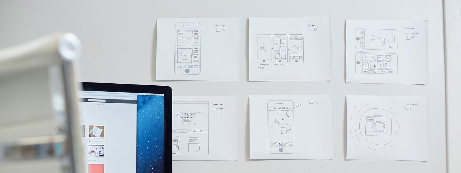 App Prototypes on a wall
